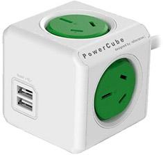 Allocacoc PowerCube with USB 1.5M Green