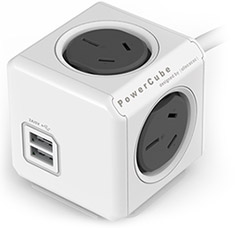 Allocacoc PowerCube with USB 1.5m Grey