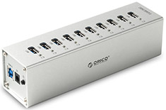 Orico 10 Port USB 3.0 Aluminium Hub Silver