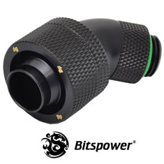 Bitspower G1/4 Matte Black Dual Rotary 45 Degree 1/2 Fitting