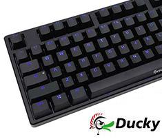 Ducky One Blue LED Mech Keyboard Cherry Black - Black Case