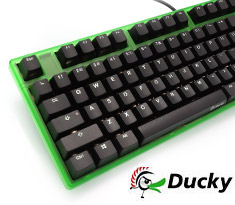 Ducky One White LED Mech Keyboard Cherry Brown - Green Case
