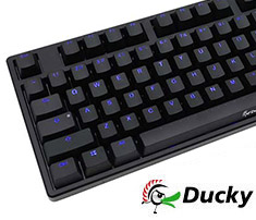 Ducky One Blue LED Mech Keyboard Cherry Red - Black Case