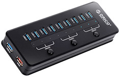 Orico 10 Port USB 3.0 Hub with Power Adapter Black
