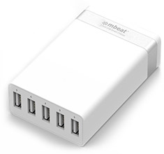 mbeat 5 Port 40W USB Smart Charger White