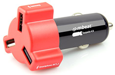 mBeat Triple Port Car Charger Red