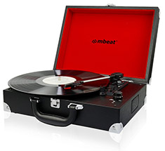 mbeat Retro Black Briefcase Styled USB Turntable Recorder