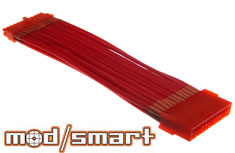 ModSmart Kobra Cable 24pin Power Extension, UV Red, 20cm