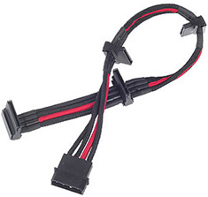 SilverStone PP07 4Pin SATA Power Extension Black/Red