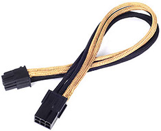 SilverStone PP07 6Pin PCI-E Power Extension Black/Gold