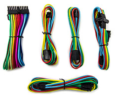 PCCG Sleeved Cable Extension Kit Rainbow