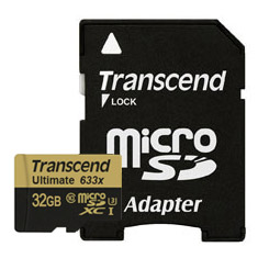 Transcend microSDXC/SDHC Class 10 UHS-I 633x with Adapter 32GB