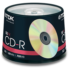TDK CD-R 52x Gold - Spindle of 50