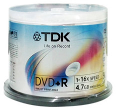 TDK DVD+R 16x White Printable - Spindle of 50