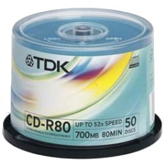 TDK CD-R 52x White Printable - Spindle of 50